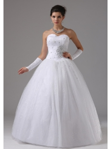 Wedding Dress In Apple Valley California With Beaded Decorate Waist and Sweetheart Tulle