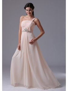 Wholesale Empire Baby Pink One Shoulder Newtown Connecticut Prom Dress With Ruch and Beading
