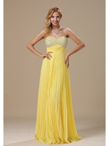 Yellow and Beaded Decorate Bust For 2013 Prom Dress With Pleat Sweetheart In St.Paul