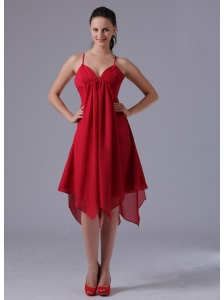 2013 Spagetti Straps Wine Red Asymmetrical Empire Homecoming Dress In Avon Connecticut