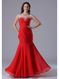 2013 Wine Red Mermaid Sweetheart Evening Dress With Beading and Ruch In Kansas