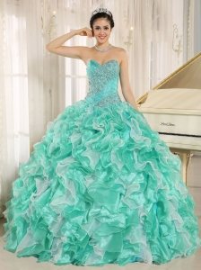 Turquoise Beaded Bodice and Ruffles Custom Made For 2013 Quinceanera Dress In Anderson California