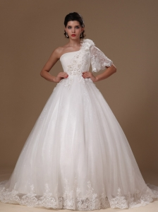 Ball Gown One Shoulder Court Train One Sleeve Tulle Wedding Dress For Custom Made In 2013