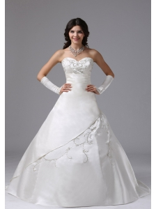 Ball Gown Wedding Dress In Century City California With Embroidery Brush Train