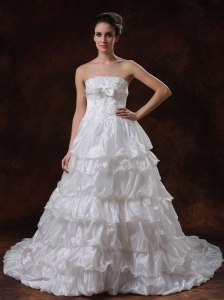 Beaded Strapless Organza Chapel Train A-Line Tiered skirt Wedding Dress
