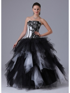Black and White Romantic Ball Gown Ruffles Quinceanera Dress With Embroidery Floor-length 2013