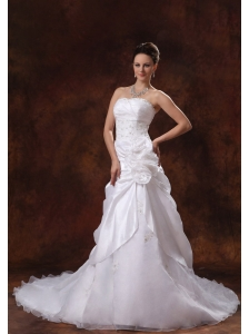 Canton Georgia 2013 Hand Made Flower and Appliques Wedding Dress With Chapel Train Taffeta and Organza