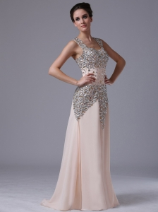 Champagne Beaded Decorate Shoulder Chiffon Column / Sheath Square Evening Prom Dress