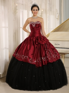 Custom Made Beaded and Embroidery Decorate Black and Wine Red Quinceanera Dress Wear In Trinidad