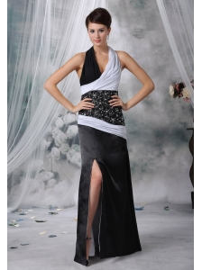 Forest City Iowa Halter Beaded Decorate Waist Chiffon and Satin White and Black Floor-length For 2013 Prom / Evening Dress
