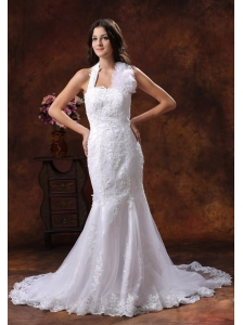 Goodyear Arizona Customize Wedding Dress Clearance With Halter Neckline Lace Over Decorate Shirt