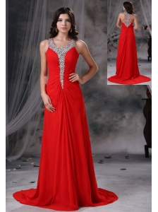 Grinnell Iowa Beaded Decorate Scoop Neckline and Bust Brush Train Red Chiffon Exclusive Style For 2013 Prom / Evening Dress