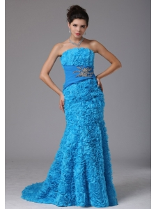 Hawaii City Fabric With Rolling Flower Baby Blue Beading Evening Dress With Brush Train In 2013