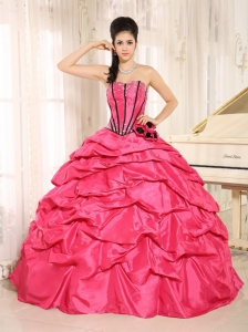 Hot Pink Beaded and Hand Made Flowers Quinceanera Dress With Pick-ups For Custom Made  In Kapaa City Hawaii