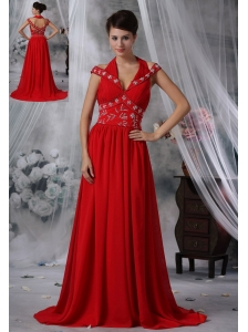 Iowa City Iowa V-neck Beaded Decorate Waist Ruched Decorate Bust Brush Train Red Chiffon For 2013 Prom / Evening Dress