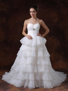Layer Sweetheart A-Line Chapel Train White Hall Wedding Dress With Beading