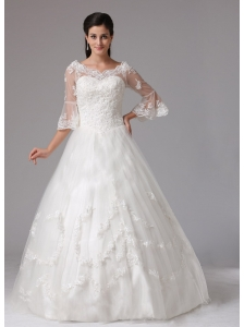 Litchfield Connecticut City A-line V-neck Wedding Dress With Lace In 2013