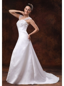 Luxurious Straps Court Train Wedding Dress With Embroidery For Custom Made In Dahlonega Georgia