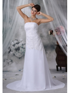 Marion Iowa Lace Decorate Bodice Strapless Court Train Chiffon Wedding Dress For 2013