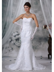 Marshalltown Iowa Lace Decorate Bodice Mermaid Court Train Sweetheart Neckline Wedding Dress For Exclusive Style