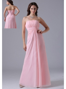 Massachusetts City Baby Pink Ruched Decorate Simple Bridesmaid Dress With Floor-length In 2013