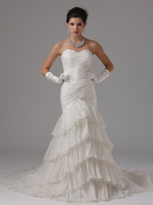 Mermaid Custom Made Ruched Bodice and Ruffled Layers For 2013 Wedding Dress In Camarillo California