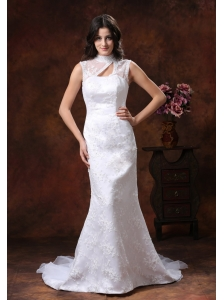 Mermaid Embroidery Decorate Gorgrous Organza Wedding Dress With High Neckline In Gilbert Arizona