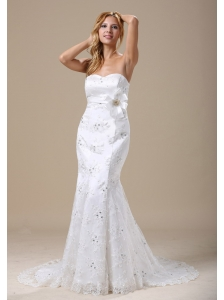 Mermaid Wedding Dress In Denver Colorado With Sash and Lace Over Skirt