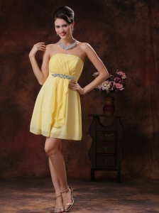 Mesa Arizona Customize Yellow Bridesmide Dress With Beaded and Ruch Decorate