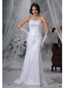 Mount Pleasant Iowa  Lace Decorate Bodice Mermaid Sweetheart Neckline Brush Train Wedding Dress For 2013