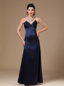 Navy Blue Satin Column V-neck Stylish Formal Evening Prom Gowns For Custom Made In Anniston Alabama