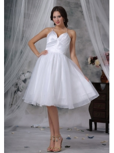 Orange City Iowa Halter Knee-length Organza Ruched Decorate Up Bodice 2013 Short Wedding Dress