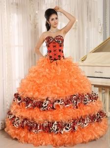 Orange Ruffles Appliques Sweetheart Quinceanera Dress Leopard For 2013 In Honaunau City Hawaii