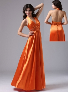 Orange Red Halter Custom Made For Evening Dress With Pailette Decorate Waist