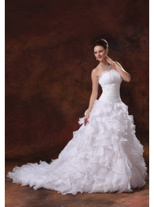 Perfect 2013 Appliques and Ruffles Wedding Dress With Chapel Train Organza For Custom Made In Cartersville Georgia