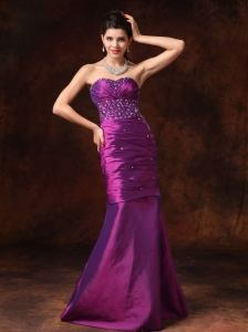 Purple Mermaid Sweetheart Beaded Decorate Waist Taffeta Formal Evening Prom Gowns For Custom Made