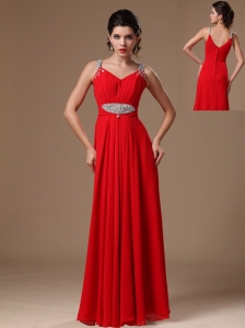 Red Beaded Decorate Shoulder Customize Empire 2013 New Style Evening Dress In Tuscaloosa Alabama