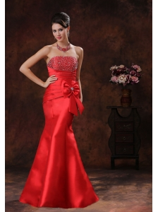 Red Satin Mermaid Evening Dress With Beaded Decorate Bust In Green Valley Arizona
