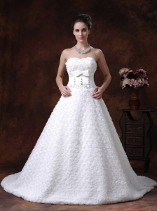 Rolling Flower Sweetheart Wedding Dress A-Line Bowknot Brush With Beading