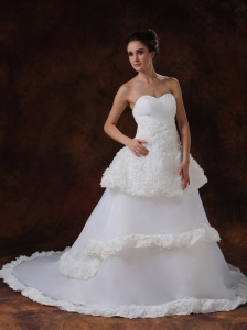 Rolling Flowers Luxurious Strapless A-Line / Princess Organza Chapel Train Wedding Dress