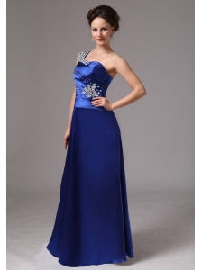 Royal Blue Beaded One Shoulder Ruch Evening / Prom Dress For Custom Made In Macon Georgia