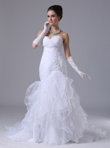 Ruched Bodice Mermaid Sweetheart Sweetheart 2012 Boone Iowa Wedding Dress With Beading
