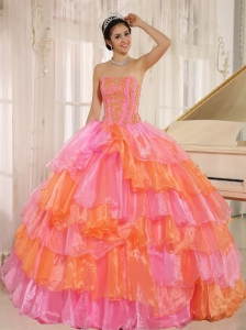 Ruffled Layers and Appliques Decorate Up Bodice For Rose Pink and Orange Quinceanera Dress