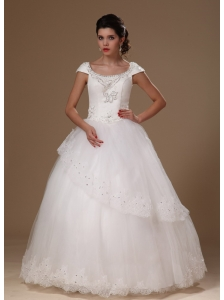 Scoop A-line Short Sleves Appliques Floor-length Perfect Taffeta and Tulle Wedding Dress For Customize