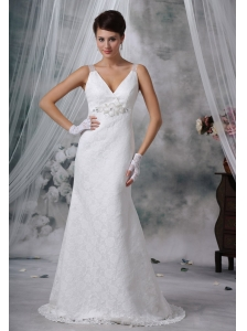 Sioux City Iowa V-neck Lace Decorate Bodice Beaded Decorate Bust Brush Train 2013 Wedding Dress