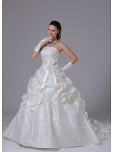 Special Fabric Stylish A-line Pick-ups Luxurious Wedding Dress With Sash Court Train