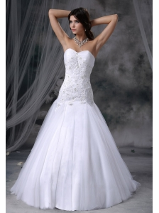 Stanton Iowa Lace With Beading Tulle Sweetheart Chapel Train Tulle 2013 Wedding Dress