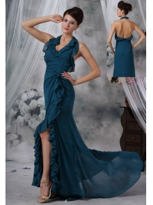 Storm Lake Iowa Halter High Slit Brush Train Green Chiffon Prom / Evening Dress For 2013 Sexy Style
