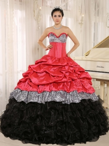 Watermelon and Black Sweetheart Ruffles Zebra Quinceanera Dress With Floor-length In Salta