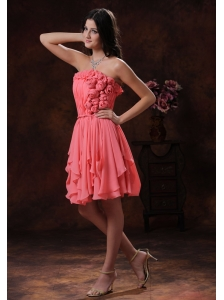 Watermelon Flowers Decorate Chiffon Short Homecoming Dress In Prescott Valley Arizona